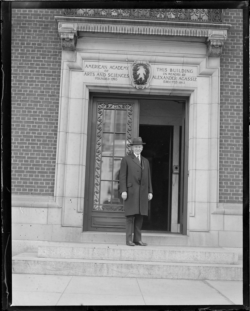 Coolidge present for the bi-annual meeting of the American Antiquarian Society, this time held outside Academy of Arts and Sciences, 28 Newbury Street, April 15, 1931.