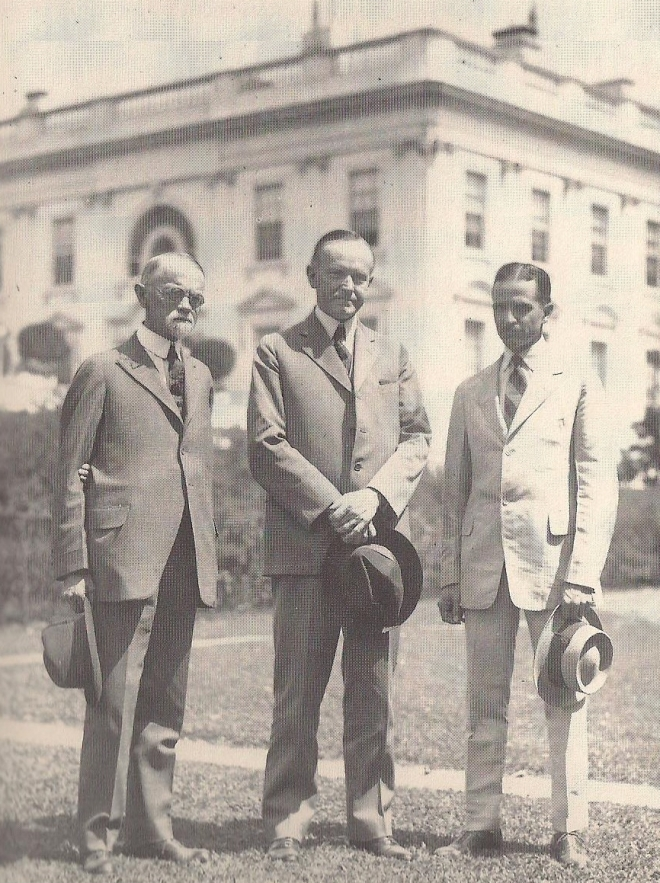 President Coolidge with his predecessor's physician, General Sawyer and Passed Assistant Surgeon Joel T. Boone, who became a Coolidge family close friend and primary doctor. Boone's medical judgment was exceptional and the loss of President Harding, rescue of Mrs. Harding's life and the death of Calvin Jr. weighed heavily on him, despite doing all that the best medical expertise could do in each case. Boone was a sound physician and a strong example of medical heroism.
