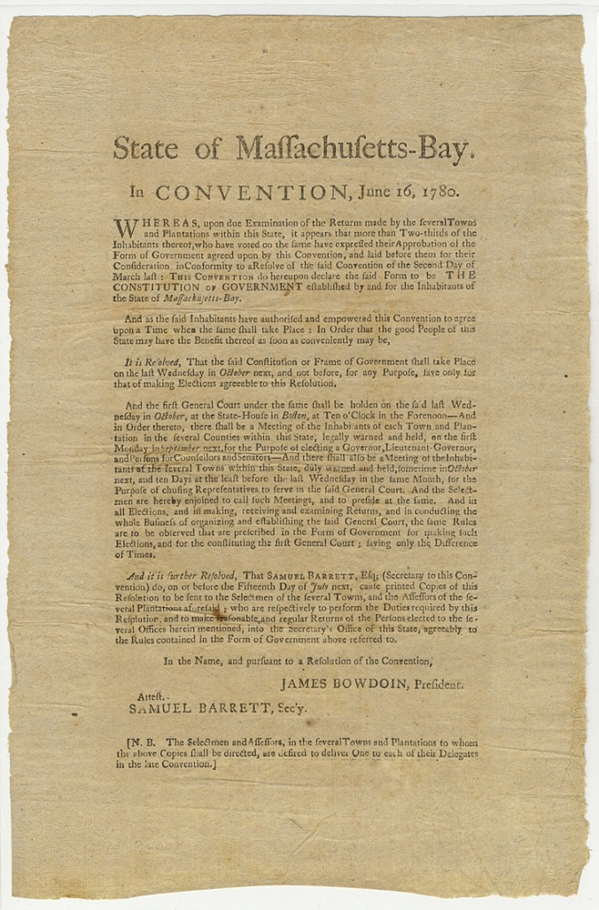 broadsideMA Constitution ratified 1780