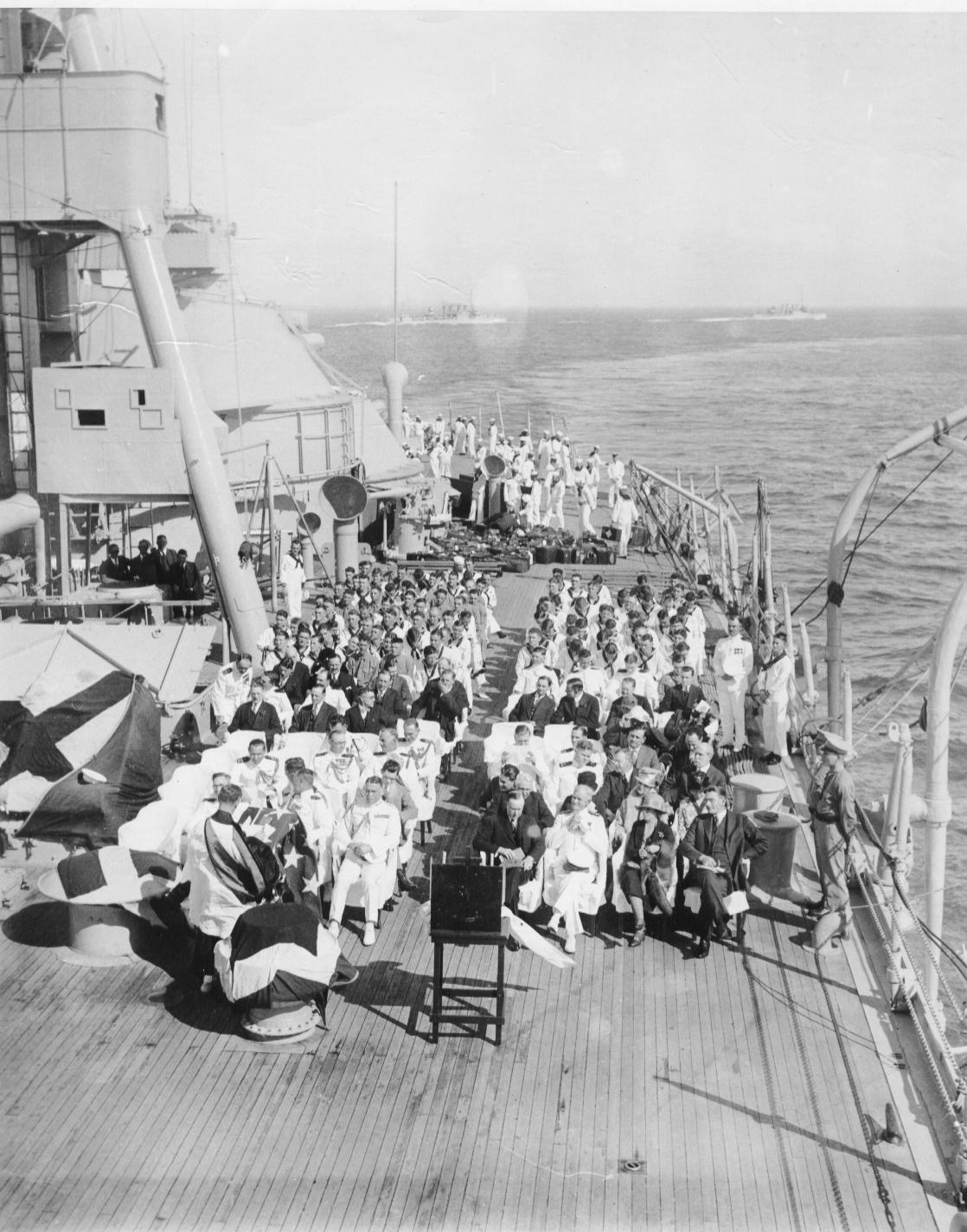 The Coolidges en route to Havana to attend the Sixth Pan American Conference, January 1928. They can be seen seated on the front row to the right on the deck of the USS Texas.