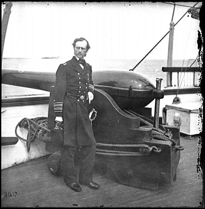 "Admiral John A. Dahlgren, beside one of his inventions, a 50-pounder Dahlgren rifle. His ""soda bottle"" design ensured greater safety and accuracy in artillery operation."