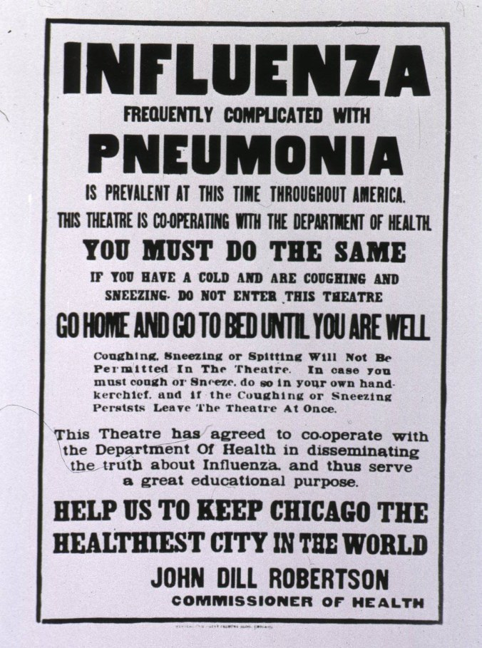 Poster in front of a Chicago theater in 1918