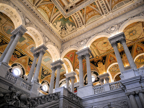 A view up the stairs in the Great Hall of the Library of Congress