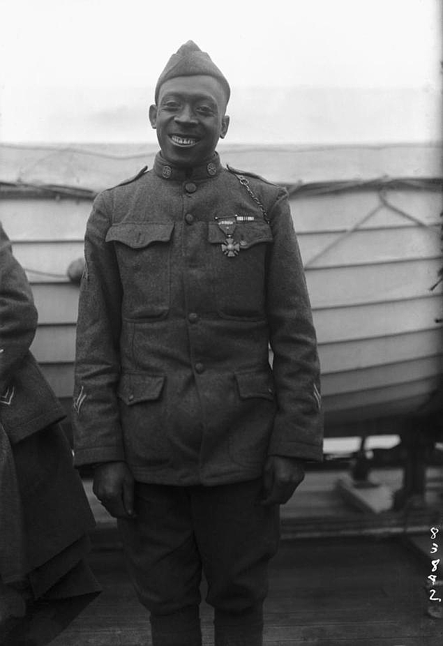 Corporal Johnson wearing the Croix de Guerre, bestowed on him by the French, 1918.
