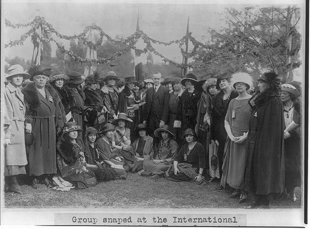 Coolidges at the Pan American Conference of Women, Baltimore, April 28, 1922. Delegates from 21 nations took part in the gathering.