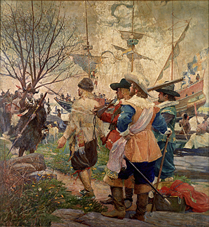 """Landing of the Swedes"" by Stanley M. Arthurs, depicting the first contact in 1638 between Swedish settlers and Delaware Indians along the Christina River in what is now Wilmington."