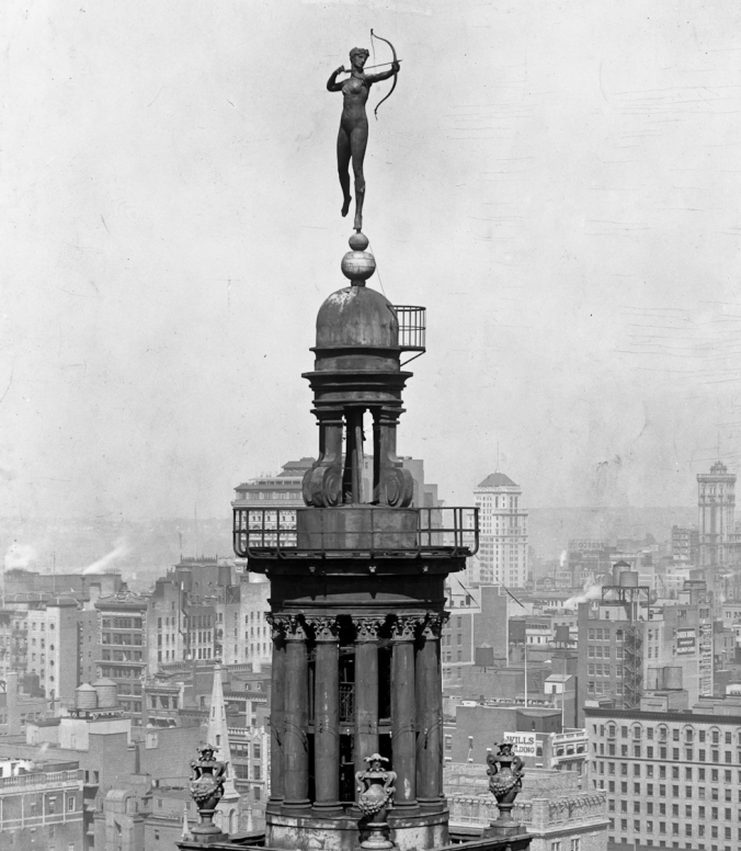 Here is the very controversial statue of Diana the huntress at the pinnacle of the Madison Square Gardens' tower. It was designed by none other than the great Augustus Saint-Gaudens. Concerns over the modesty (or lack thereof) of the design caused quite an uproar for many years. A cloth was manufactured to cover the statue but it soon blew away. Interestingly, Diana now resides with the Philadelphia Museum of Art, given in 1932 by the owners of the old Garden location, New York Life Insurance Company.