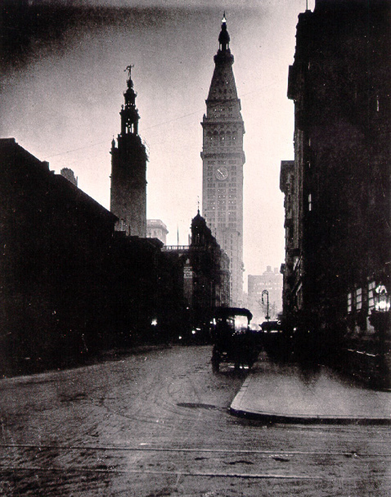 The profile of Stanford White's Madison Square Garden stand against the skyline, beside the Clock Tower (right), in this photograph from 1923. It was the second tallest building in New York City in its time.