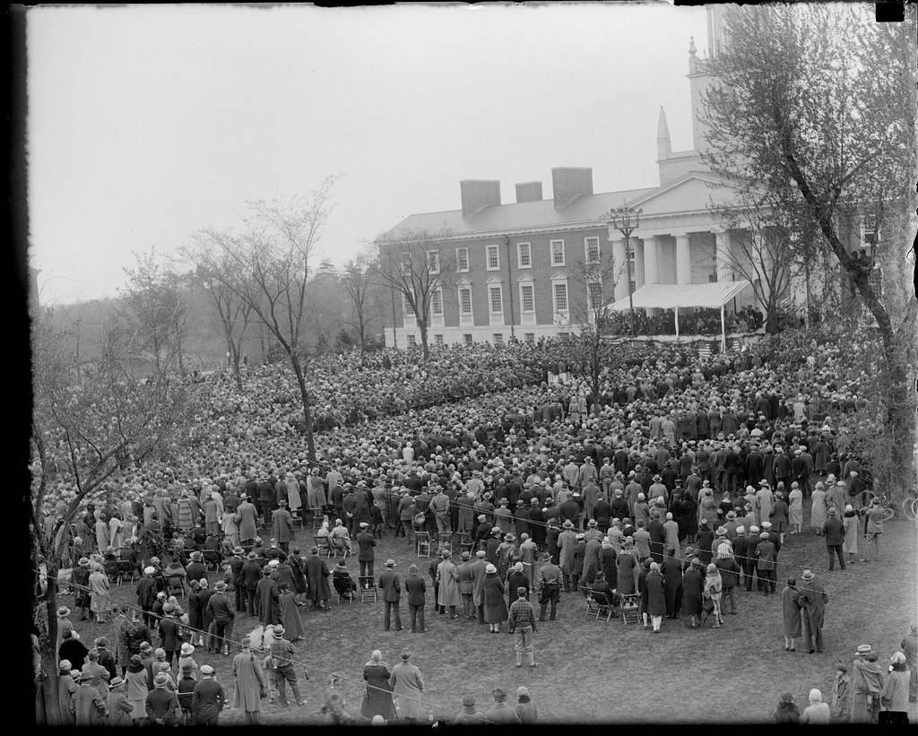 President Coolidge addressing the crowds at the Academy