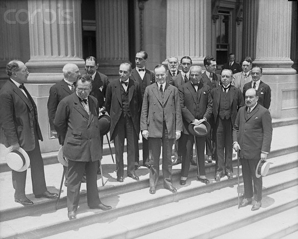Vice President Coolidge entertains South American delegates to the Chile-Peru conferences then in session at Washington, June 1, 1922.