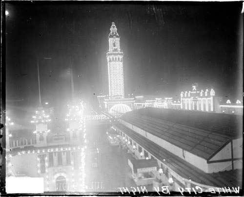 "A night snapshot of ""White City"" with its famous tower, a landmark visible up to fifteen miles away. In his mention of this turn-of-the-century amusement park, Coolidge lauds one very specific quality of that site: the inspiration it fostered in those ""who had the good fortune to visit it"" of a desire to beautify surroundings nation-wide. Coolidge was keenly aware that many had never been there and yet, as with so many things, Coolidge appealed to ideals, to what could and should be, not merely settling for what is."