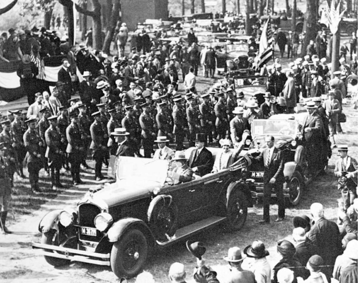 The Coolidges arrive in Hammond, Indiana, on Flag Day, June 14, 1927.