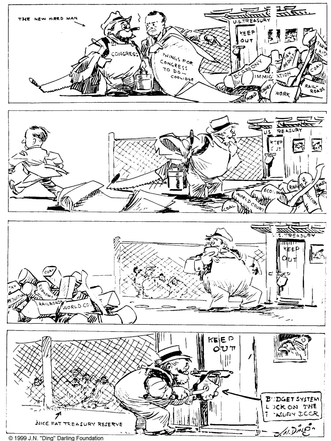 """And the first thing he tackled was the lock on the chicken coop"" by ""Ding"" Darling, Des Moines Register, December 11, 1923."