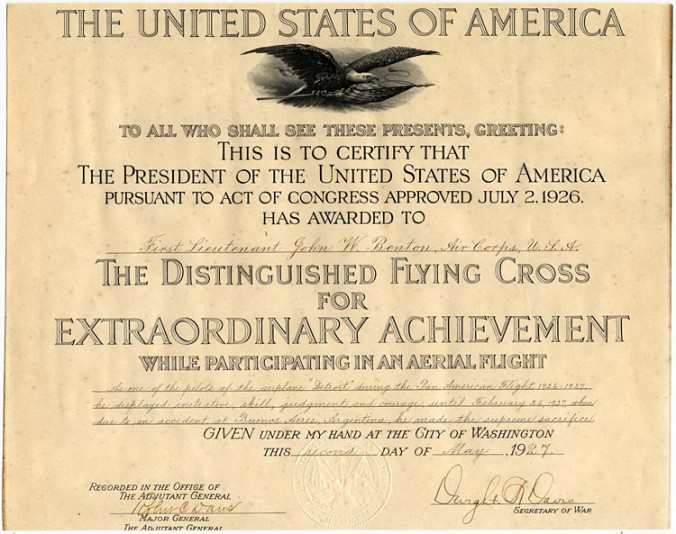 Lieutenant John W. Benton's Distinguished Flying Cross citation, May 2, 1927, representative of what was given by President Coolidge to the aviators of the Goodwill flight that day.