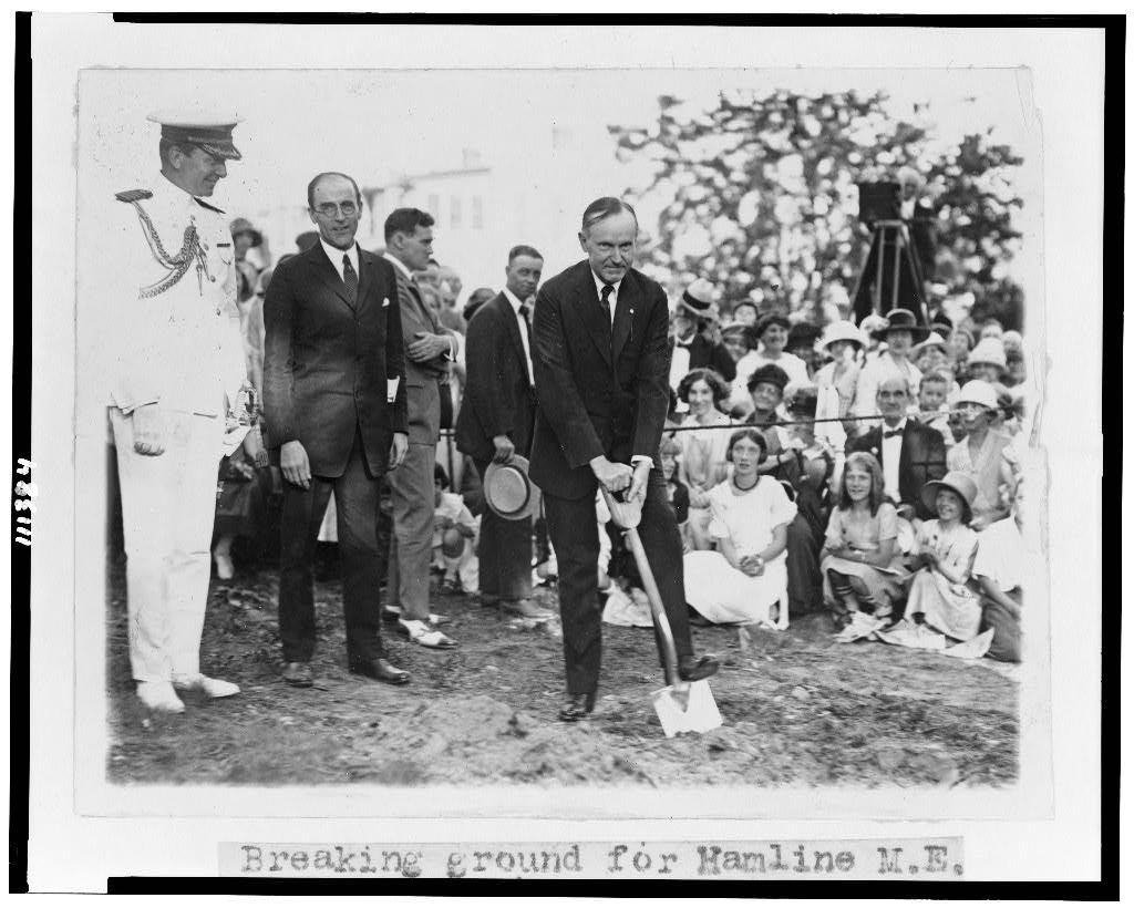 Coolidge breaking ground for the Hamline Methodist Episcopal Church in Philadelphia, 1924.