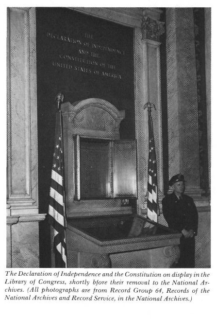 The Empty Shrine: The Transfer of the Declaration of Independence and the Constitution to the National Archives by Milton O. Gustafson, published in American Archivist 39.3 (July 1976): 271-285. Digitized courtesy of the Society of American Archivists at http://archivists.metapress.com/content/n50n22w711j64203/fulltext.pdf.