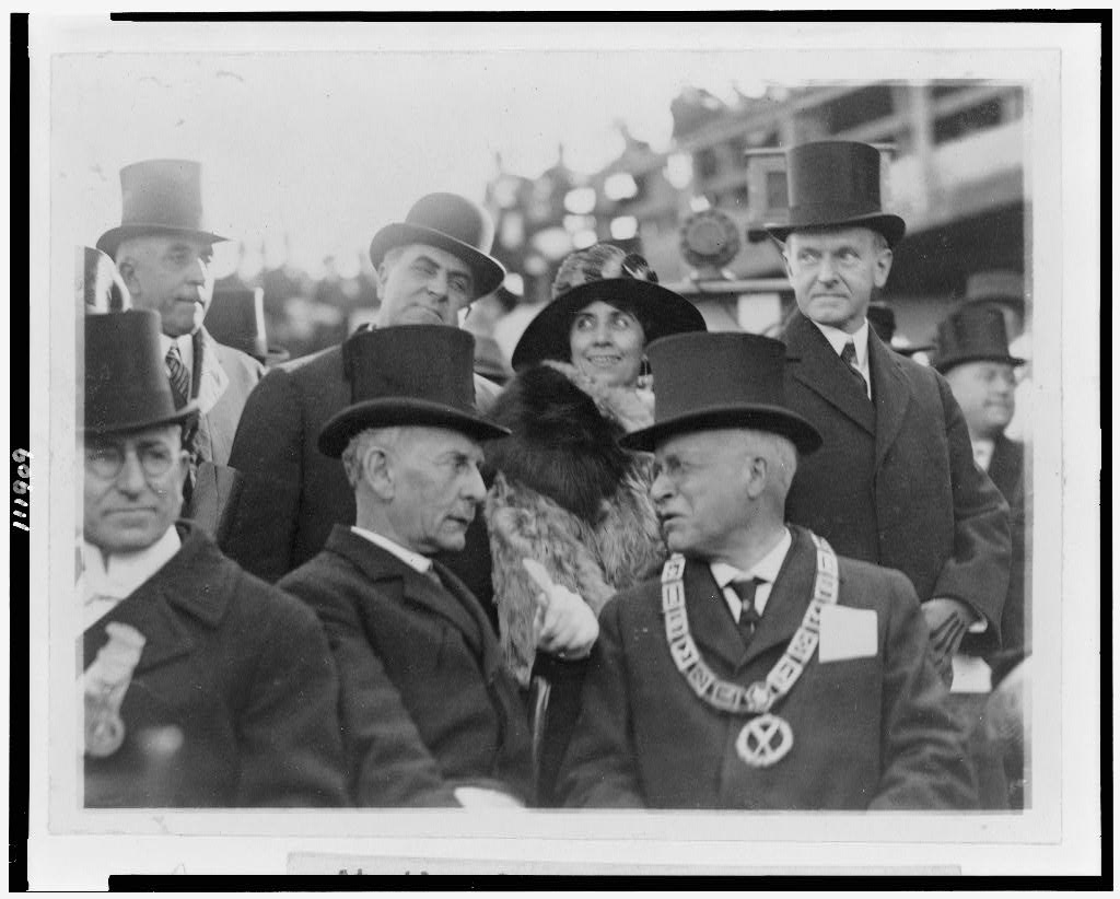 President and Mrs. Coolidge at the laying of the cornerstone for the George Washington Masonic National Memorial, November 1923.