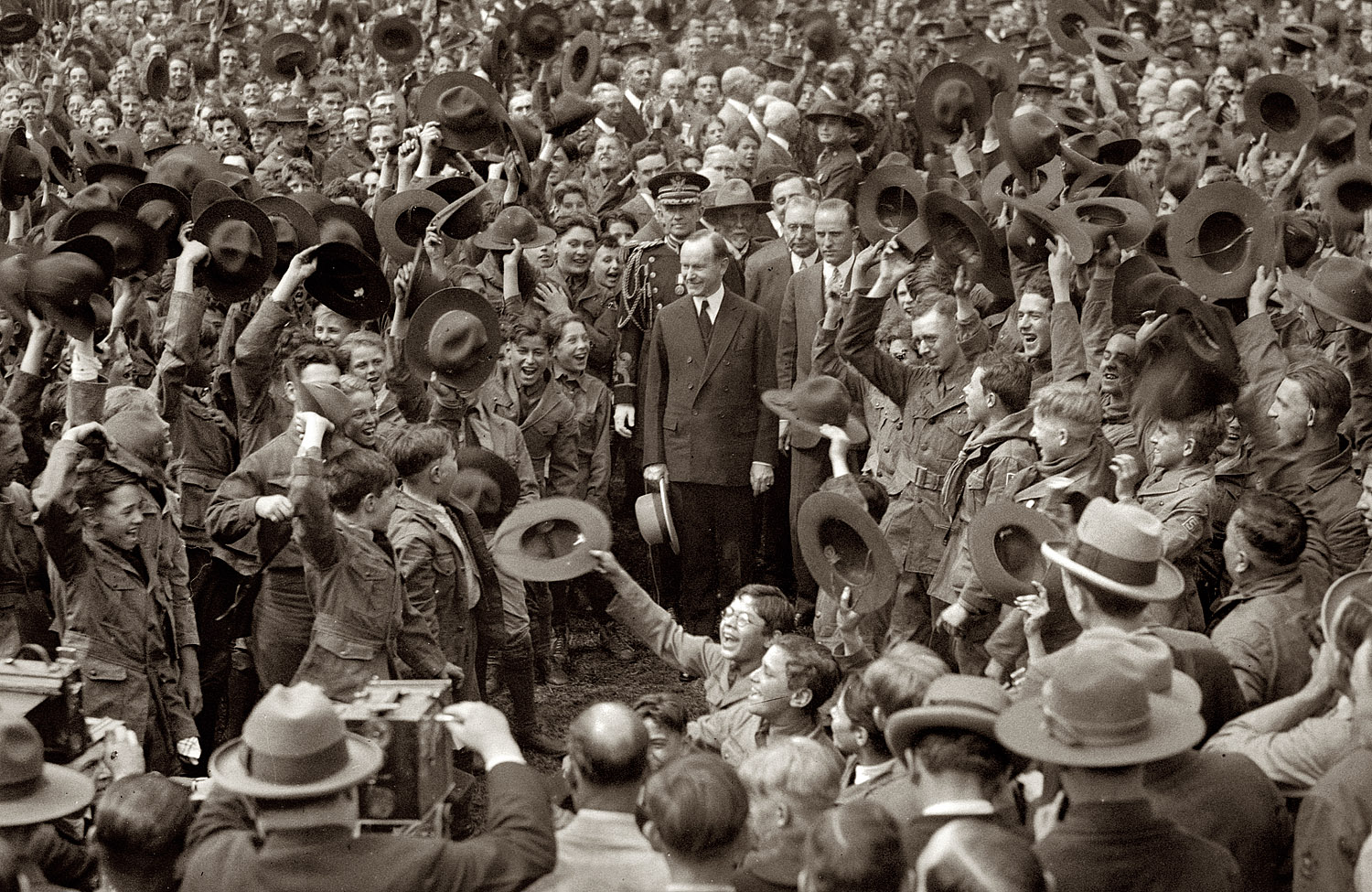 "Photographed here during the 16th Annual National Council of Boy Scouts, May 1, 1926 (two years after his telephone message), President Coolidge would present the first Silver Buffalo Awards in recognition of distinguished service in the Scouts, saying, ""The more I have studied this movement, its inception, purposes, organization, and principles, the more I have been impressed. Not only is it based on the fundamental rules of right thinking and acting, but it seems to embrace in its code almost every virtue needed in the personal and social life of mankind. It is a wonderful instrument for good. If every boy in the United States could be placed under the wholesome influences of the Scout program, and should live up to the Scout Oath and rules, we would hear fewer pessimistic words as to the future of our nation."""