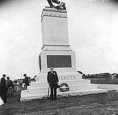 Mr. Colvill at the Monument to the valiant First Minnesota at Gettysburg, 1897.