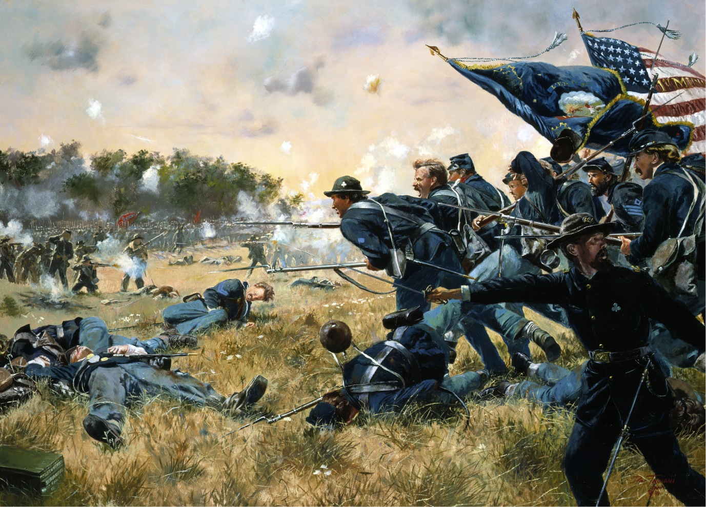 """First Minnesota at Gettysburg"" by Don Troiani. Courtesy of the Minnesota National Guard. 262 Minnesotans charged 1,600 Alabamans to halt the Confederate effort to flank the Union Army, July 2, 1863."