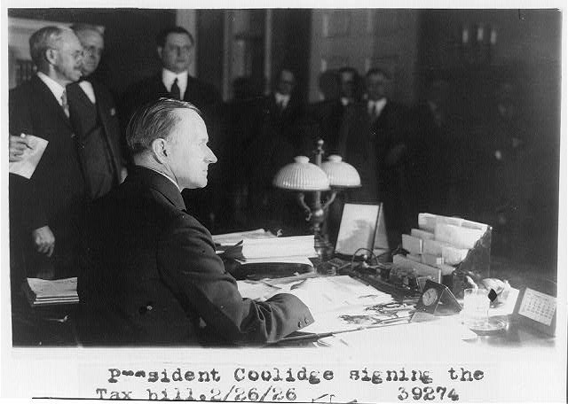 President Coolidge signs the Revenue Act of 1926, February 26, 1926