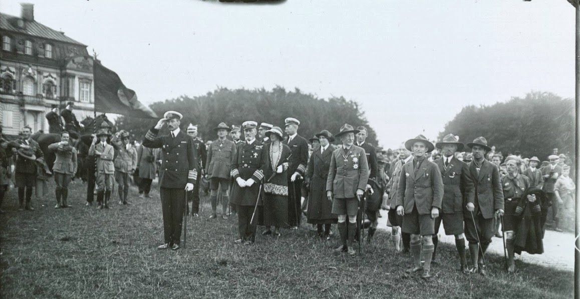 King Christian X and the Danish royal family inaugurate events at which the 53 boys President Coolidge addressed participate through August 1924. The boys, representing all 48 states in the Union, would go on to win first place with 181 points, the King's victory cup and a successful introduction of the game of baseball to the other boys.