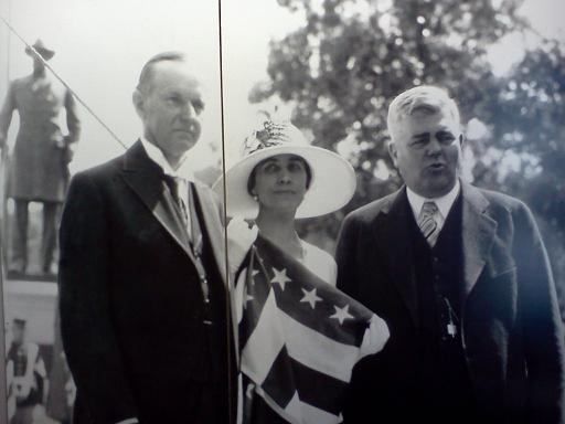 The Coolidges with Minnesota Governor Theodore Christianson in front of Colonel Colvill's memorial, July 29, 1928