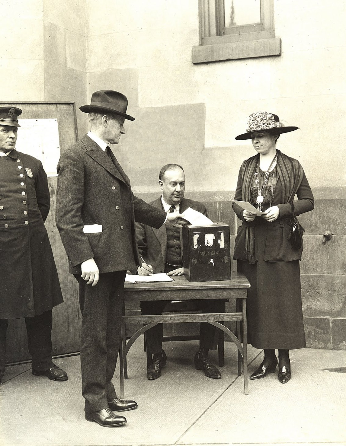 The Coolidges vote together, November 2, 1920. The Nineteenth Amendment, ratified in August of 1920, recognized suffrage for women nationwide and enabled Grace to join her husband and to cast her ballot for the first time.