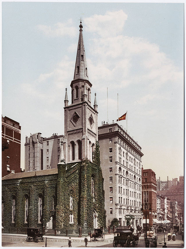 A postcard view of the Marble Collegiate Reformed Church building, Manhattan, where Jason Noble Pierce eulogized young Calvin Coolidge Jr. the first Sunday after his death.
