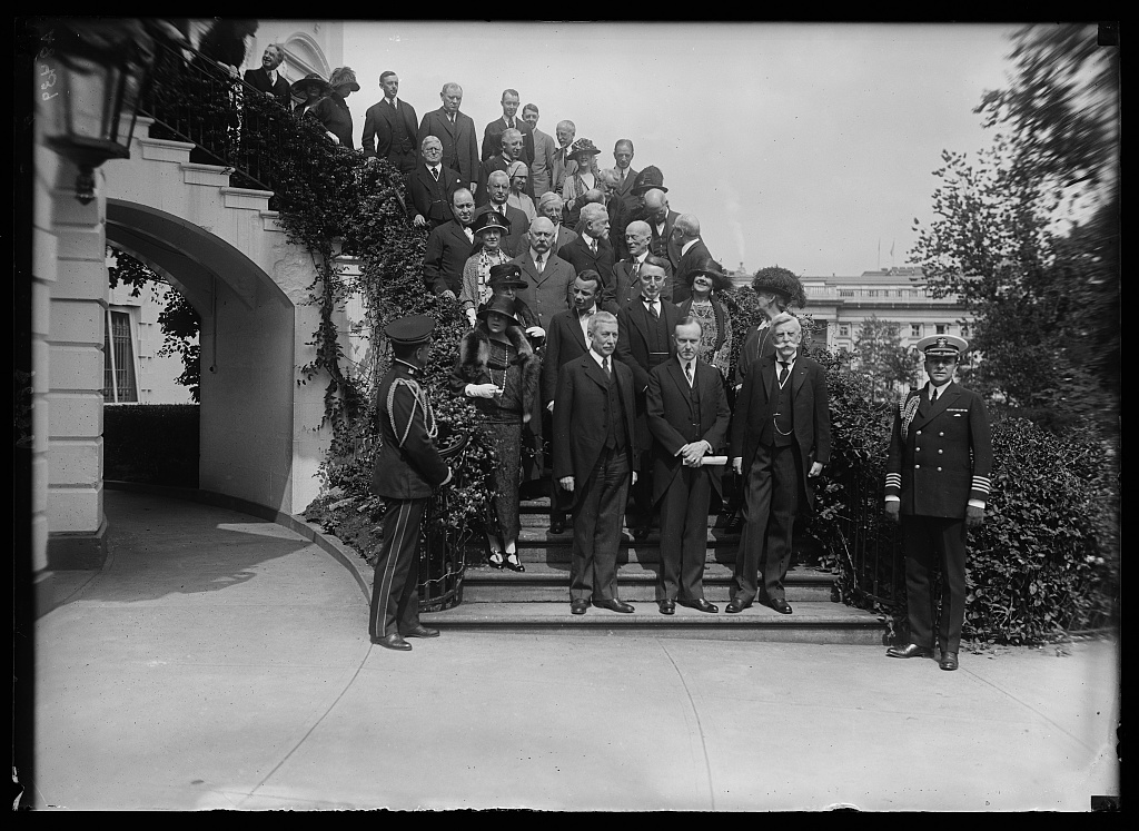 When the ceremony was done, the party stepped outside to mark the occasion with photographs. Here the gathered fills the White House steps as they descend to the President and the three exceptional Americans honored on that day.