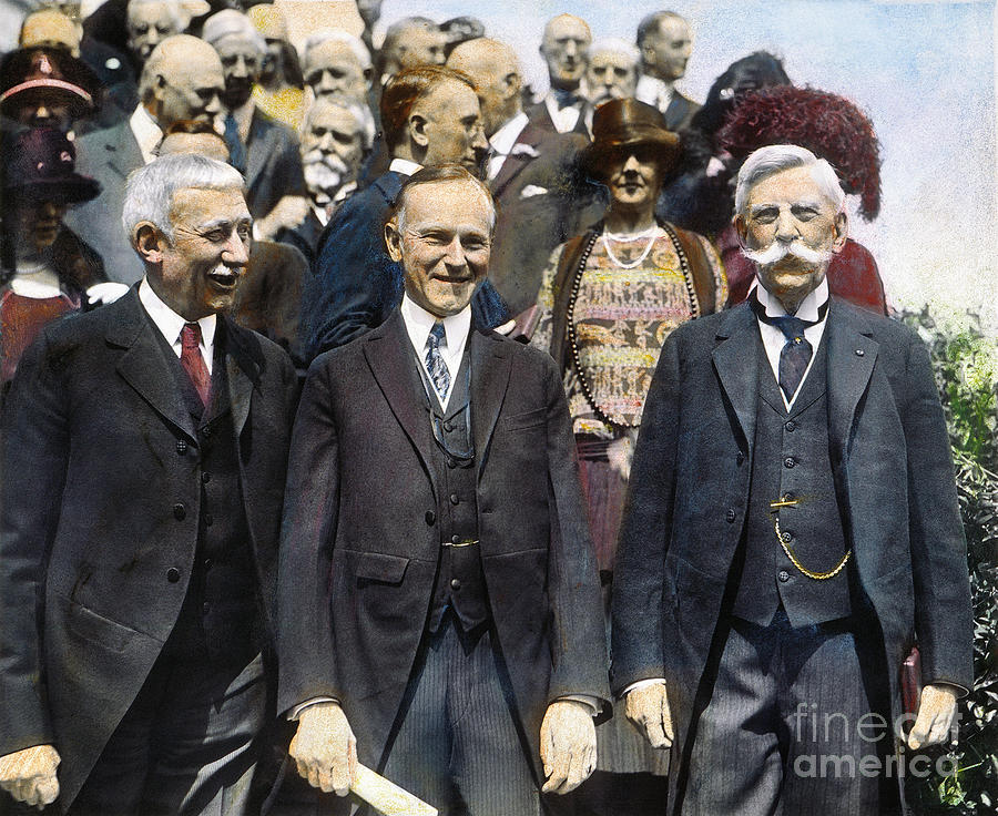 President Coolidge in color, flanked by elder statesman-diplomat Elihu Root and Justice Oliver Wendell Holmes. Courtesy of Granger from Fine Art America.