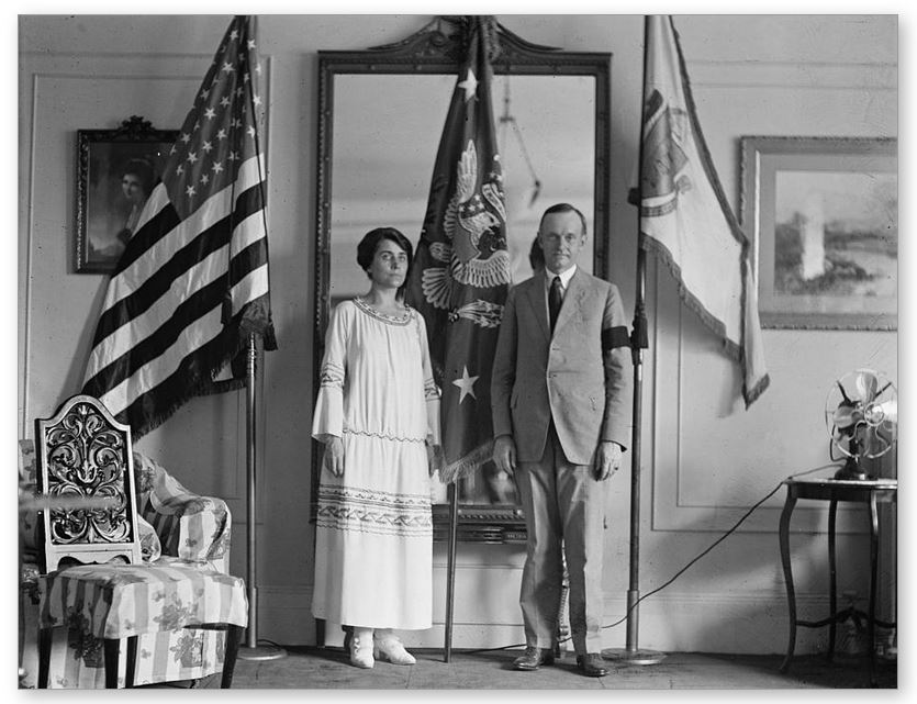 The Coolidges in their reception room at the Willard, August 4, 1923.
