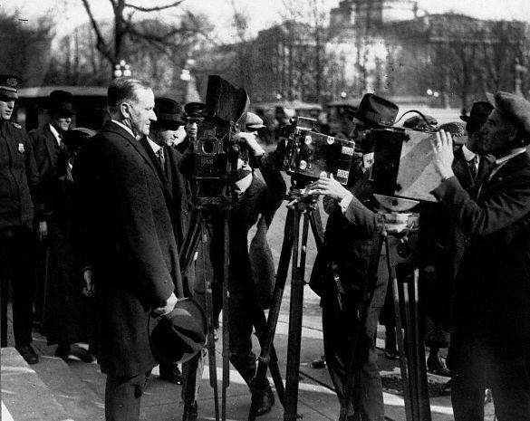 President Coolidge Being Filmed