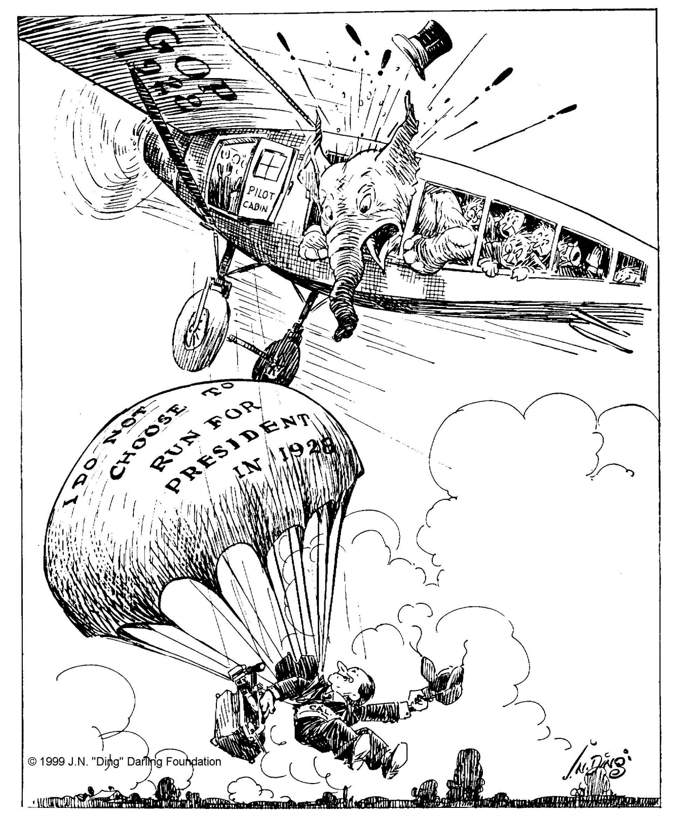 """Cartoon by """"Ding"""" Darling, appearing on August 3, 1927 in The Des Moines Register."""