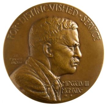 The Roosevelt Memorial Association Medal, bronze by renowned sculptor James Earle Fraser, 1920.