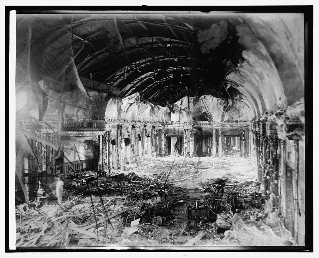 The ballroom on the top floor, after the fire, April 1922.