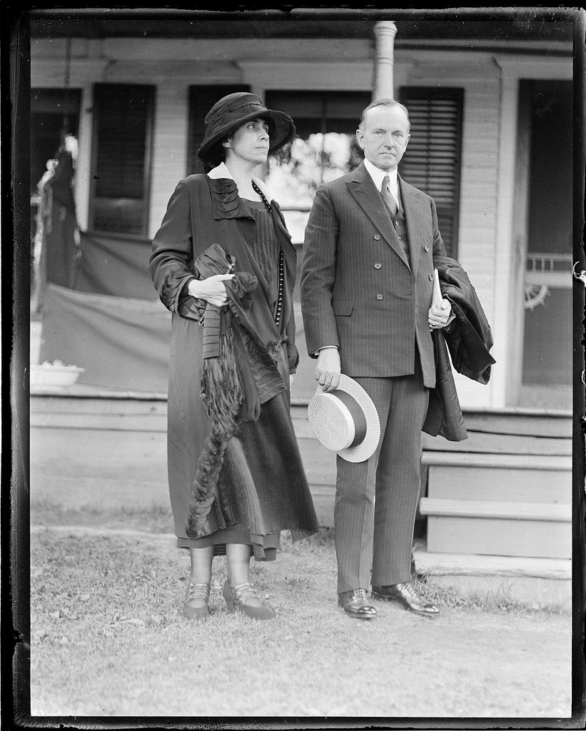 President and Mrs. Coolidge at the family Homestead in Plymouth Notch, Vermont.