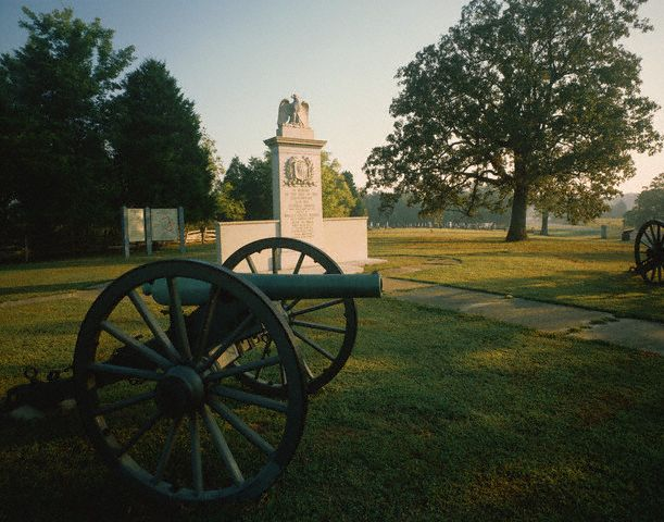 22. Brices Crossroads National Battlefield, Mississippi, established February 21, 1929, alongside Tupelo, represented by the second artillery piece at this site. Courtesy of David Muench/Corbis.