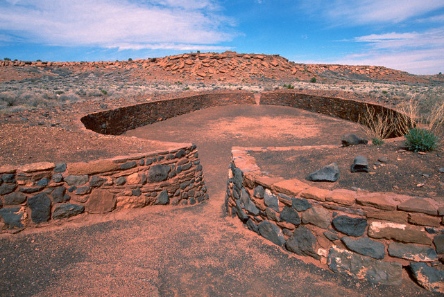 9. Wupatki Ruins National Monument, an intact ball court at the site dating from 1190 to 1240. Established as a Monument on December 9, 1924. Courtesy of Tom Bean/Corbis.