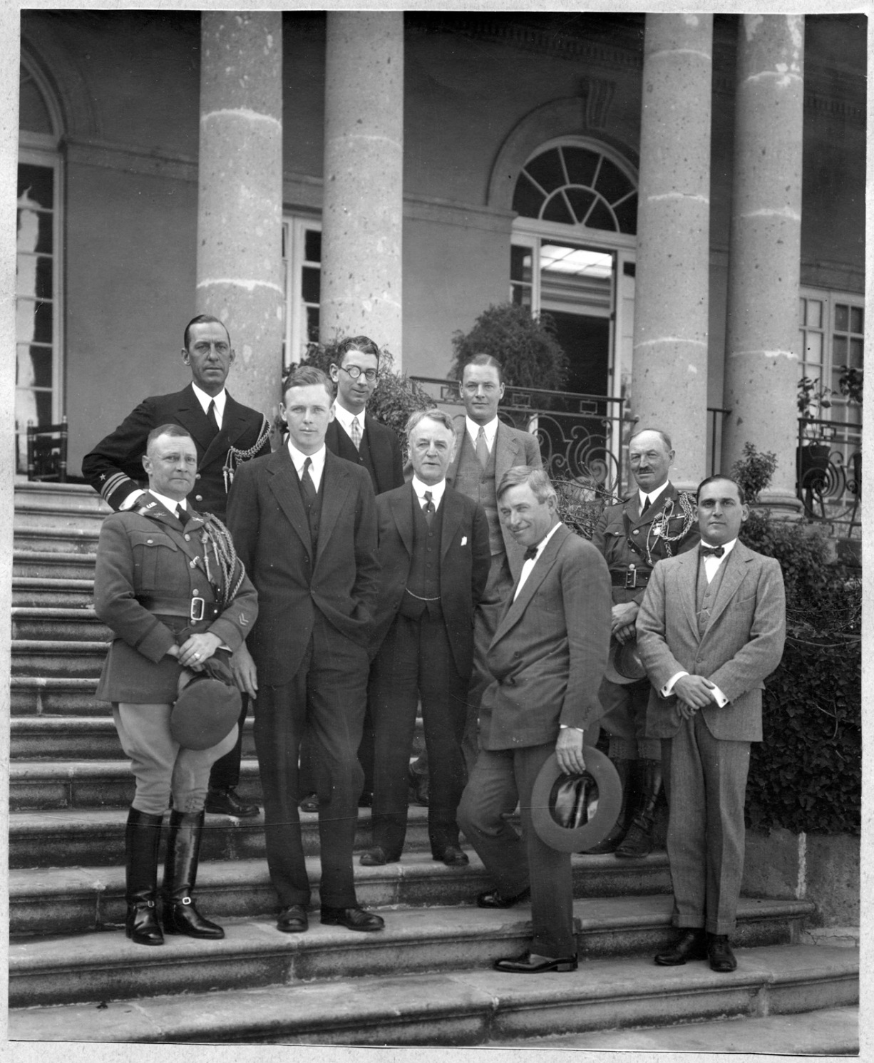 Ambassador Morrow, with his specially-chosen team of American envoys, including aviator Charles Lindbergh and humorist Will Rogers, Mexico City, 1927. http://consecratedeminence.wordpress.com/2014/03/16/the-lone-eagle-meets-the-ham-eggs-diplomat/.
