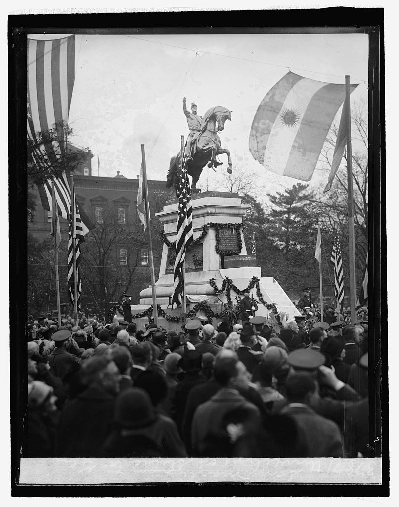 Dedication of the San Martin Statue accepted by President Coolidge on behalf of the American people, October 28, 1925. Courtesy of the Library of Congress.