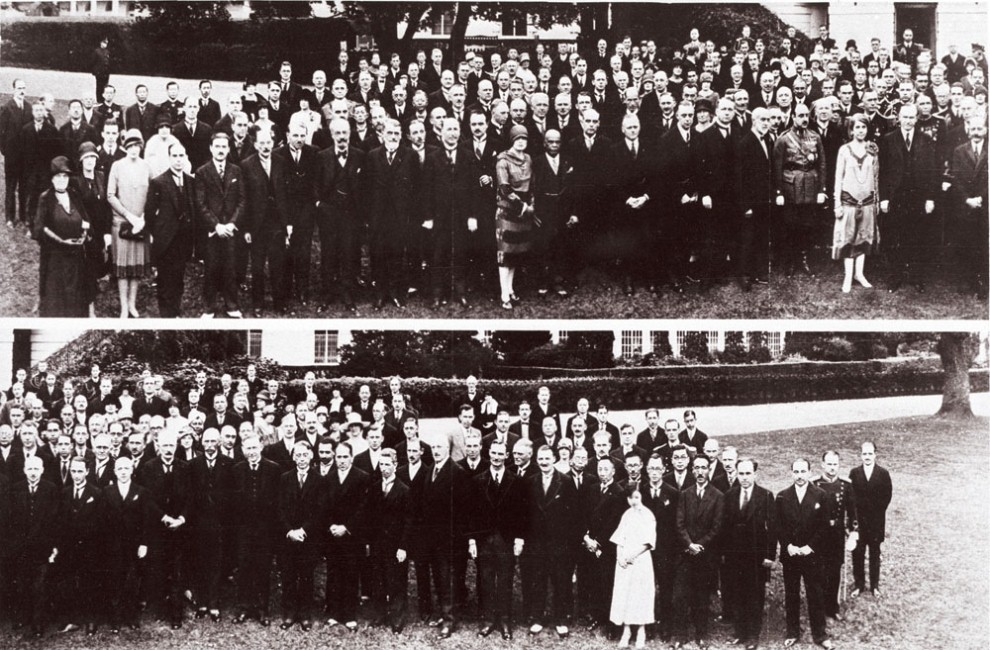 The delegates of the International Radiotelegraphic Conference, October 4, 1927, split in two photographs. Notice who stands in their midst in the top shot: President and Mrs. Coolidge.
