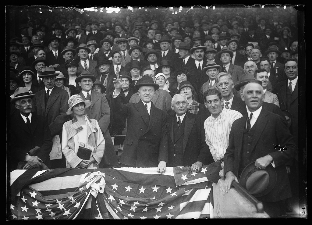 Looking forward to the World Series? Take a look at this great shot from 1925. As everyone watches with rapt attention, Coolidge throws out the first pitch for the old Washington Senators at Griffith Stadium. Courtesy of the Library of Congress.