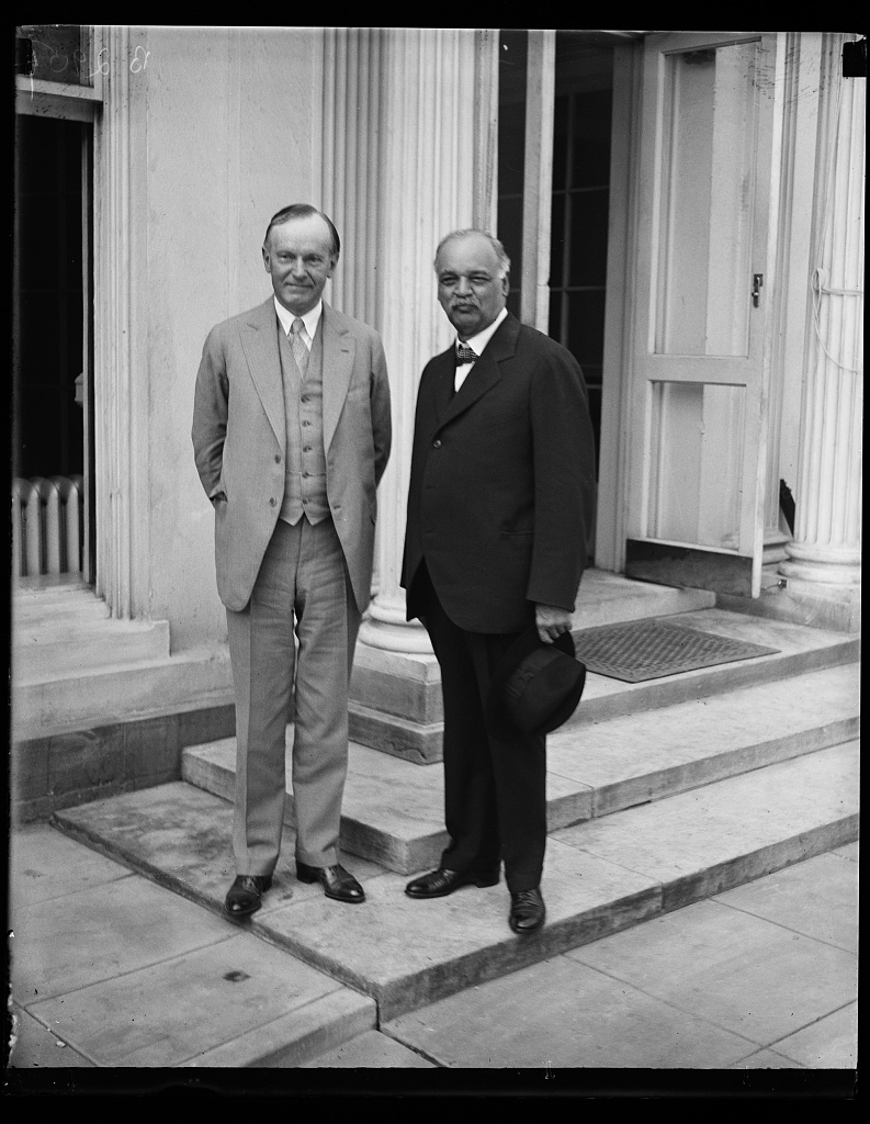 President Coolidge conferring with Senate Majority Leader, Charles Curtis of Kansas, 1928. Curtis was also a Kaw Indian, who would rise to the office of Vice President of the United States. Courtesy of the Library of Congress.