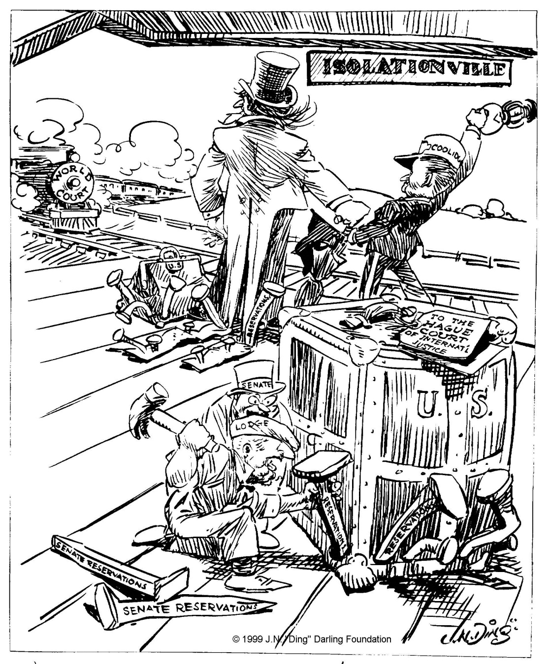 """Begins to look as if we never would get out of this jerkwater town"" cartoon by ""Ding"" Darling, The Des Moines Register, May 26, 1924."