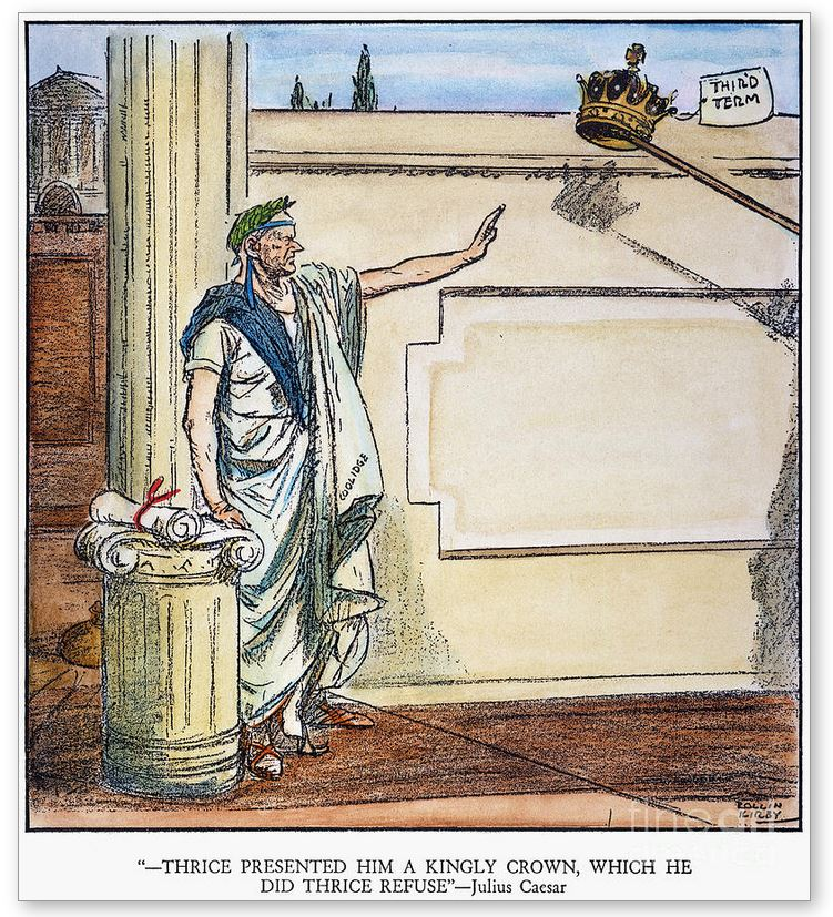 Political illustration depicting Coolidge, in the tradition of Roman republicans from Cincinnatus onward, after his steadfast refusal to extend his executive powers for another four years. Coolidge resolved instead to leave public office, lay down the mantle of authority and step out of the limelight for others chosen by the American people to succeed him. Cartoon by Rollin Kirby appearing in The New York World, March 24, 1928.