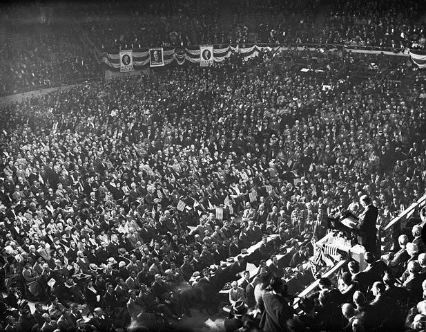 Former President Coolidge addressing Americans gathered at Madison Square Garden, October 11, 1932.
