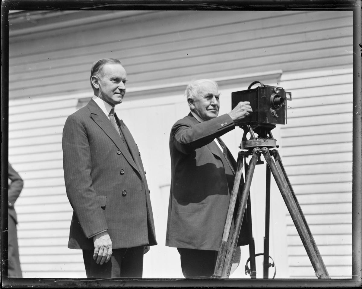 Coolidge and Edison during the inventor's visit to Plymouth Notch, August 1924.