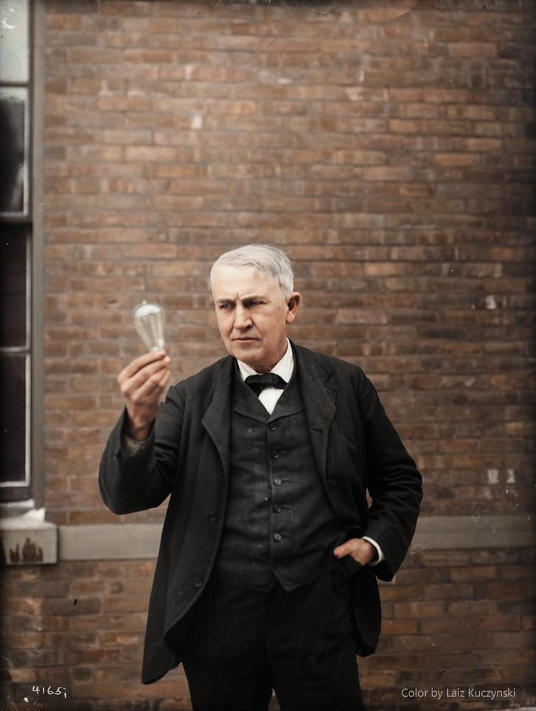 Edison in 1911. Color by Laiz Kucynski.
