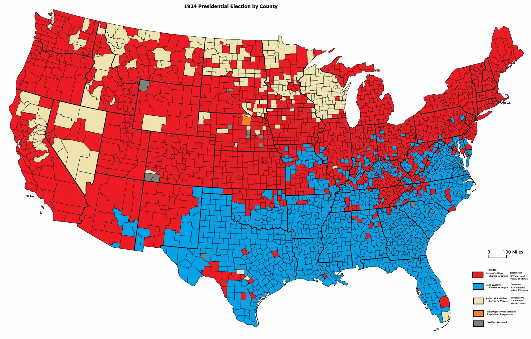 County-by-county breakdown of 1924 Election can be found in The Presidential Vote, 1896-1932 by Edgar E. Robinson.